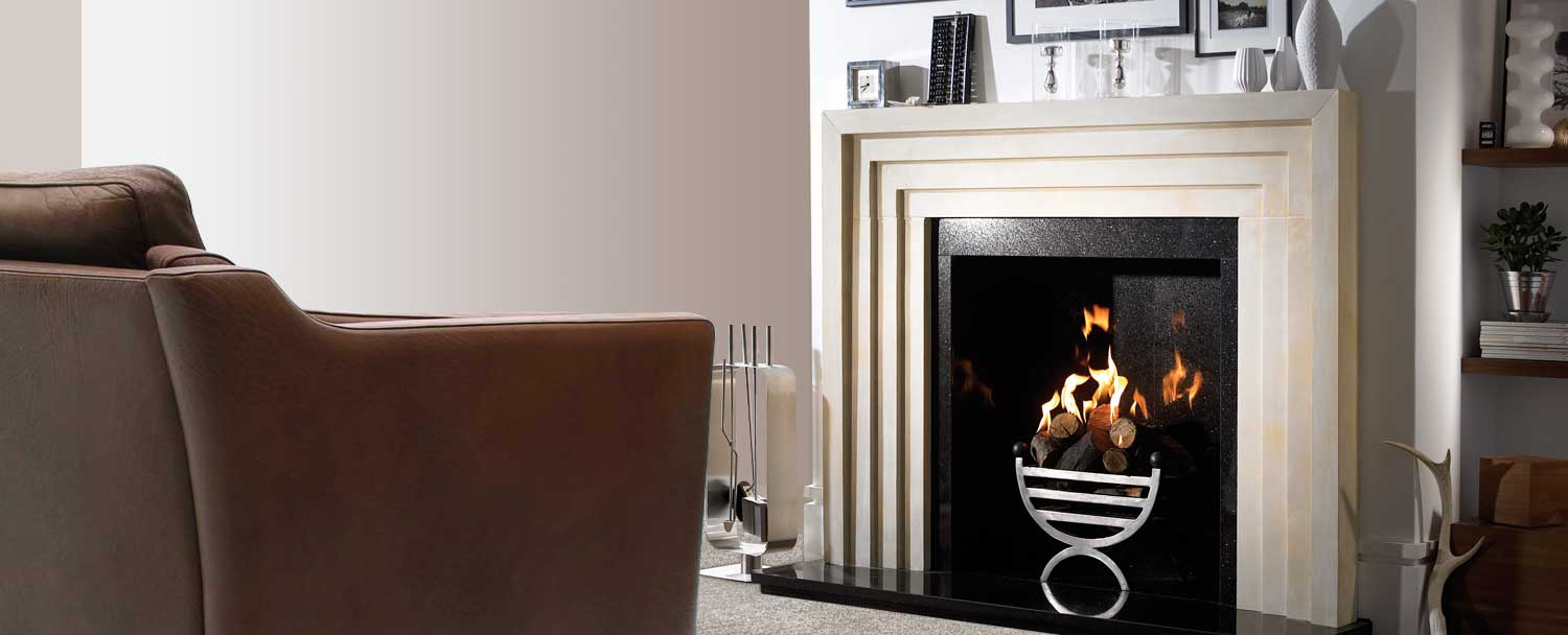 Art Deco influence and modern chic limestone fireplaces